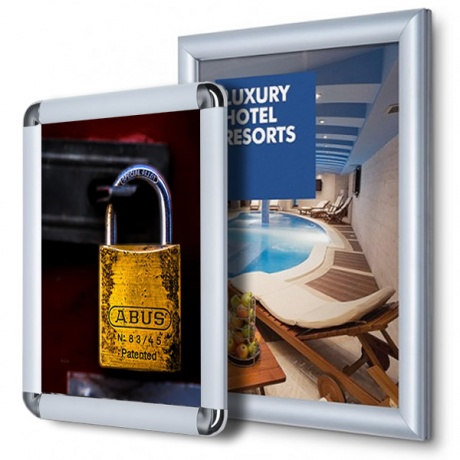 Tamper Resistant Poster Snap Frames With Mitred or Rounded Corners - 20mm Profile
