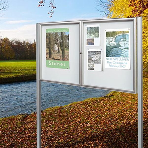 Post mounted magnetic noticeboard White Light Display
