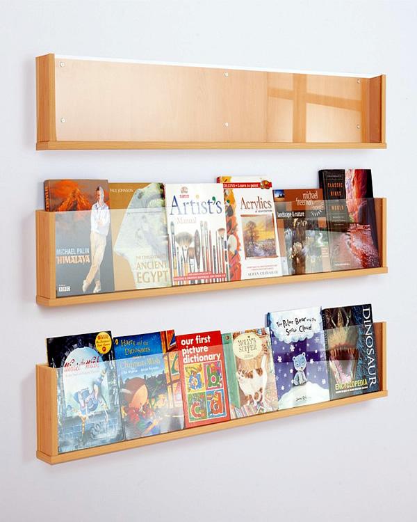 Wall Mounted Book & Magazine Shelf White Light Display