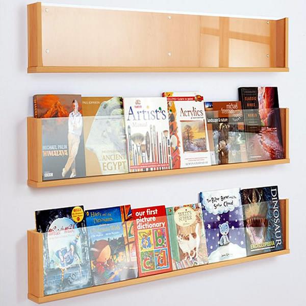Magazine Shelf: Wall Mounted Book & Magazine Shelf White Light Display