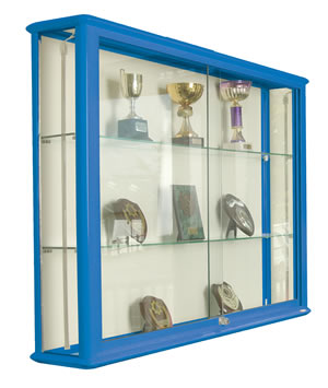 Shield Glazed Wall Display Case in Blue