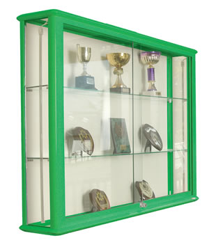 Shield Glazed Wall Display Case in Green