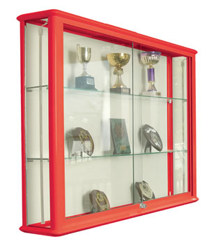 Shield Glazed Wall Display Case in Red