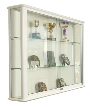 Shield Glazed Wall Display Case in White