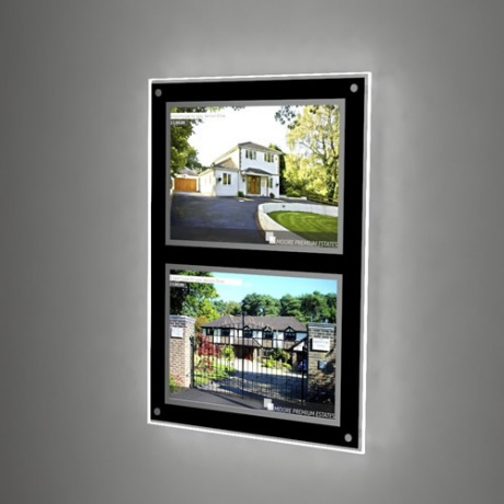 2 x A3 Landscape Wall Mounted LED Light Pocket Kit - Black Framed