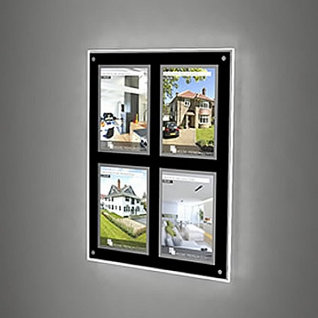 4 x A4 Portrait Wall Mounted LED Light Pocket Kit - Framed