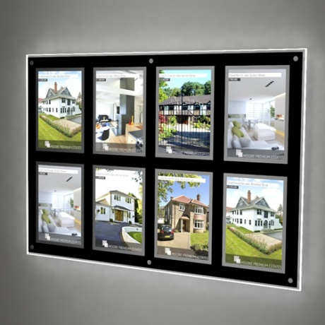 8 x A4 Wall Mounted LED Light Pocket Kit - Framed