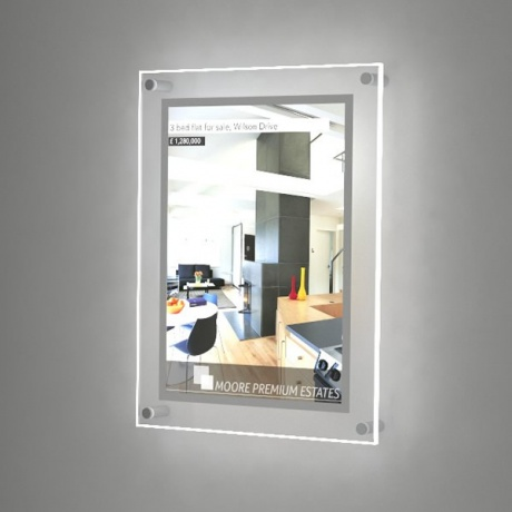 A3 Wall Mounted LED Light Pocket Kit - Clear Acrylic | Portrait/Landscape