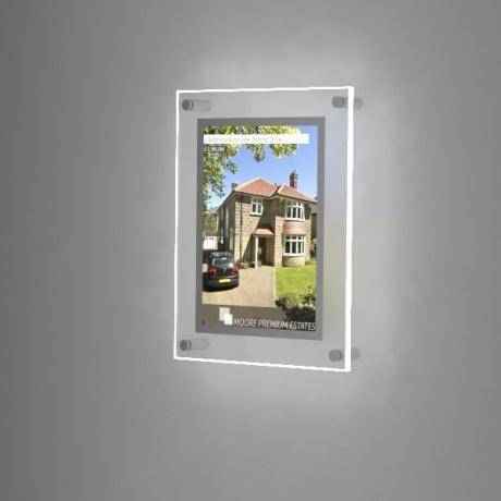 A4 Wall Mounted LED Light Pocket Kit - Clear Acrylic