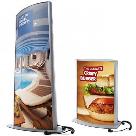 Arcuato Freestanding Lightbox Totem | LED/Fluorescent Illumination