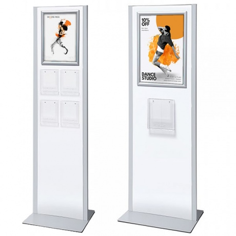 A4/A5 Brochure Rack Totem & Poster Snap Frame | White & Silver Design