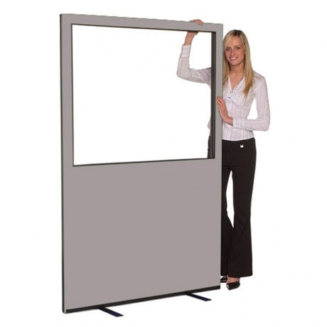 Budget Glazed Office Screen with Nyloop Fabric