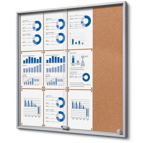 Lockable Sliding Door Cork Noticeboard
