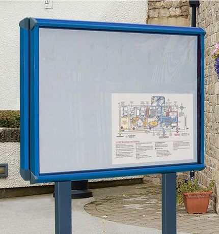 Shield Double Sided Post Mounted Noticeboard - IP55 Rated