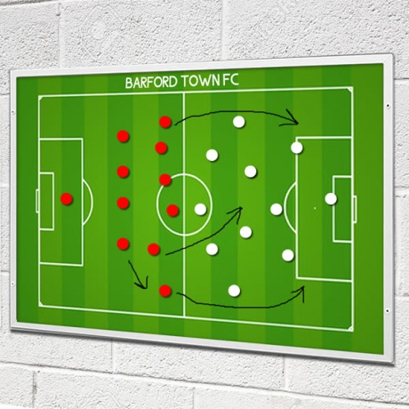 Football Tactical Whiteboard with Bespoke Printed Team Name & Badge