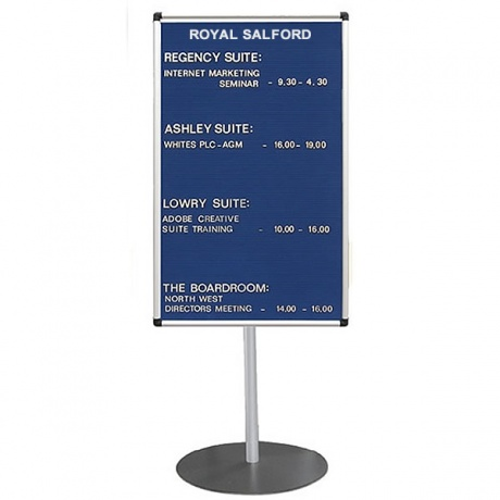 Stand Mounted Welcome Board - Satin Silver Frame