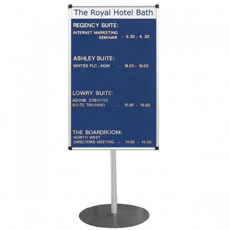 Stand Mounted Welcome Board With Printed Title Plate - Satin Silver Frame