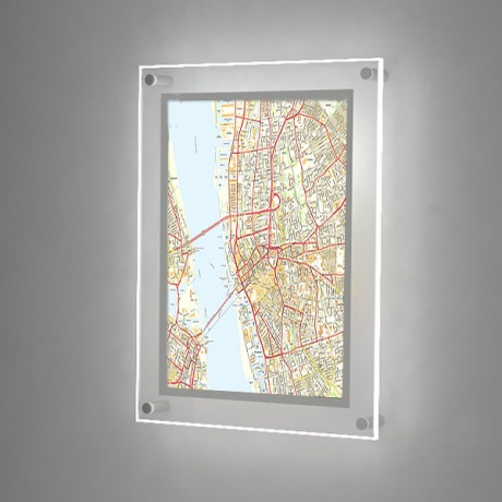 A2 Illuminated Wall Map LED Panel