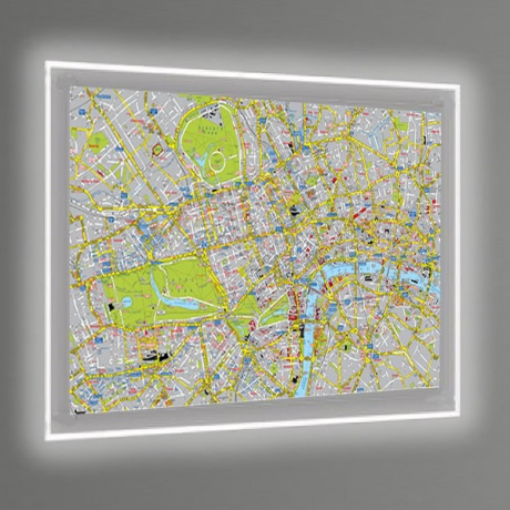1500 x 1000mm LED Illuminated Wall Map