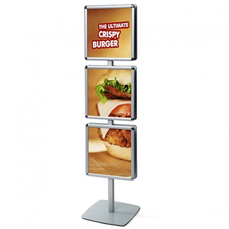 Info Pole Poster Stand With 6 x 400mm² Snap Frames | Double Sided Display