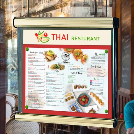 Scroll Interior Window Hanging Menu Case | With Digitally Printed Header