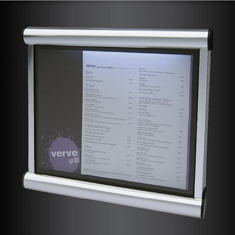 Scroll Battery Powered Exterior Menu Case | Optional Vinyl Text Printing on Glazing