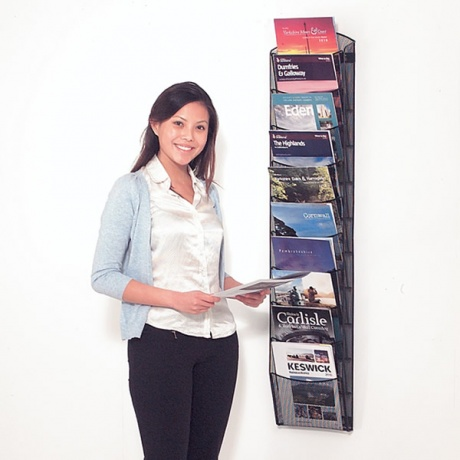 5/10 x A4 Mesh Wall Mounted Literature Display