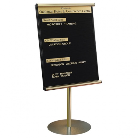 Variatex Lockable Grooved Felt Welcome Board | Stand Mounted with Printed Title Plate