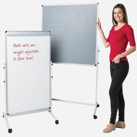 Mobile Noticeboard Pinboard & Whiteboard Combo