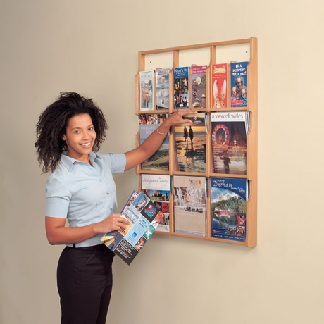 A4/DL Oak Wood Deluxe Wall Mounted Literature Dispenser