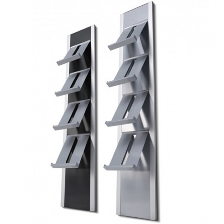 4 x A4 Onyx Wall Mounted Brochure Rack with Steel Shelves