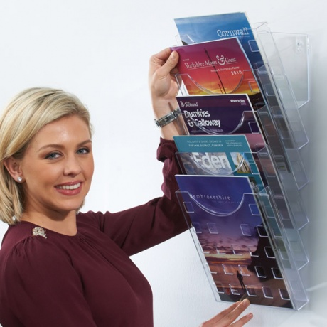 5 x A4 Premium Acrylic Wall Mounted Literature Display