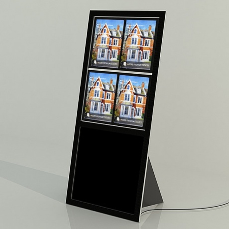 Recline 4 x A4 Freestanding LED Light Pocket Display