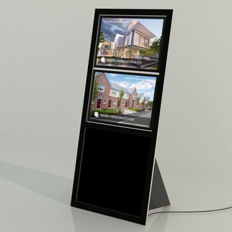 Recline 2 x A3 Freestanding LED Light Pocket Display