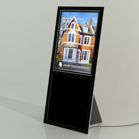 Recline A2 Freestanding LED Light Pocket Display