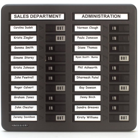 INDESIGN In Out Staff Boards - For 10 / 20 / 40 People