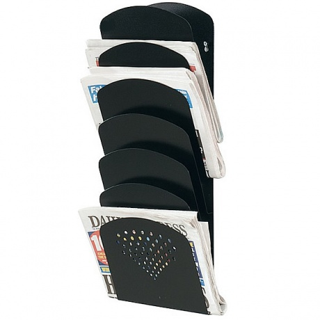 Steel 7 Pocket Wall Mounted Newspaper & Magazine Rack