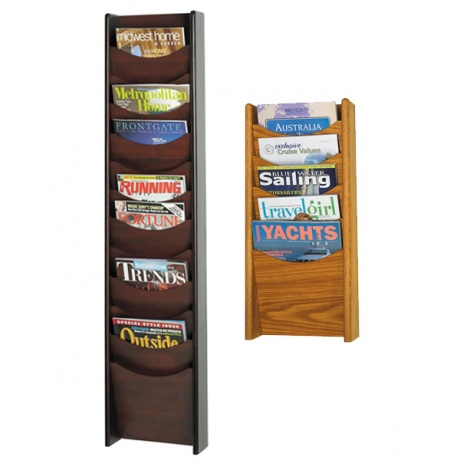 5/12 x A4 Wooden Wall Mounted Literature Dispenser