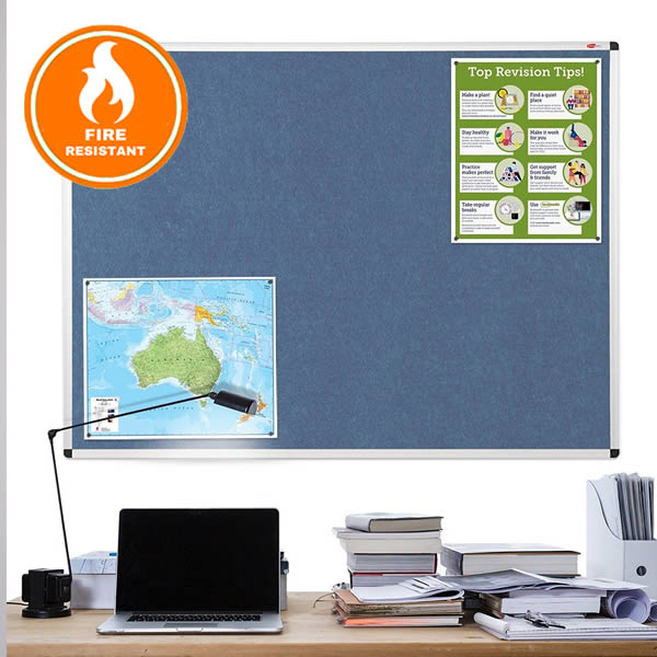 Metroplan Resist-a-Flame Aluminium Framed Noticeboard | Eco Friendly