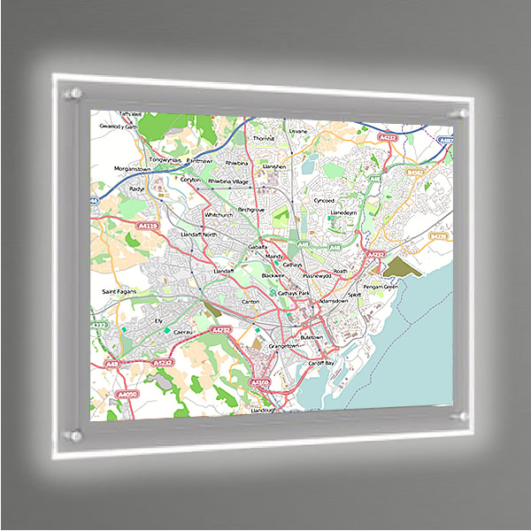 A1 Illuminated Wall Map - Great for Estate Agents White ... on