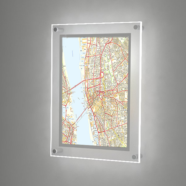 A2 Illuminated Wall Map Great For Estate Agents White