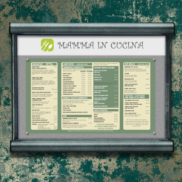 Scroll Interior Menu Case | With Digitally Printed Header