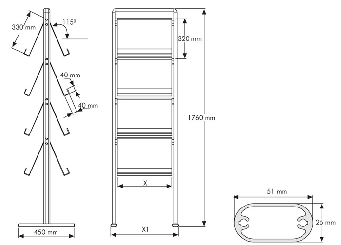 Preview A4 Brochure Stand dimensions